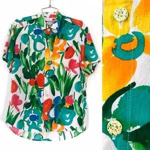Vintage 1980's Jams World rainbow floral shirt top